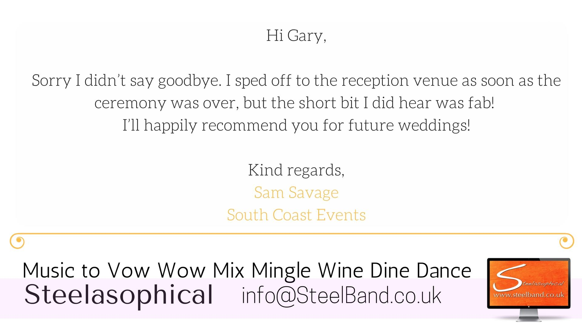 Steelasophical Wedding Steelband steelpan hire 0008