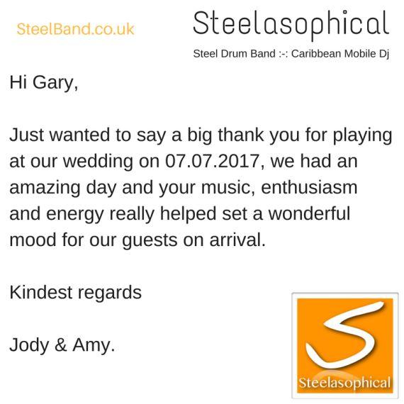 Steelasophical Wedding Steelband steelpan hire 1