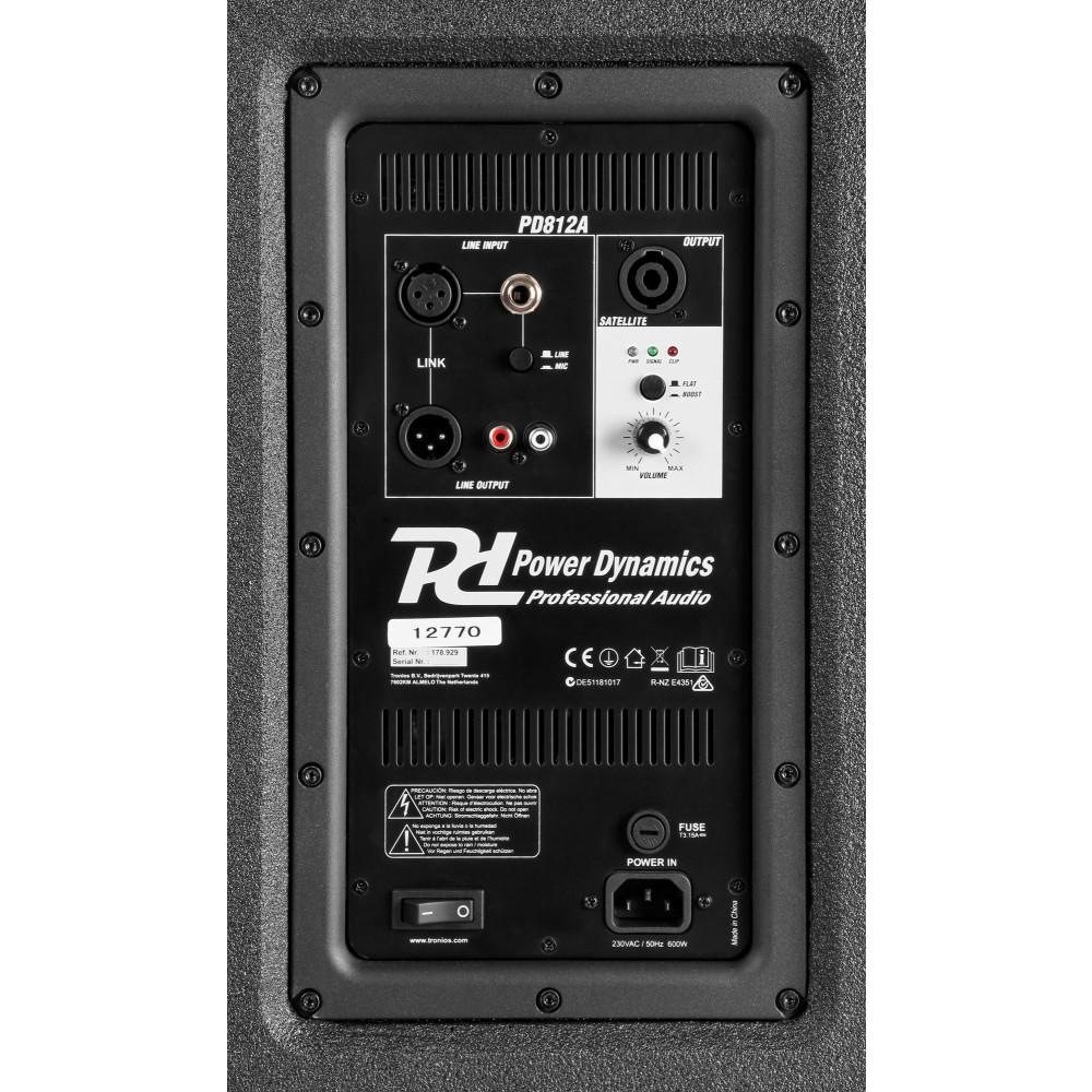 Power Dynamics PD812A rear panel sub