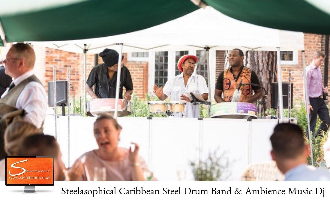 weddings with Steelasophical steel band bride groom 3 piece band