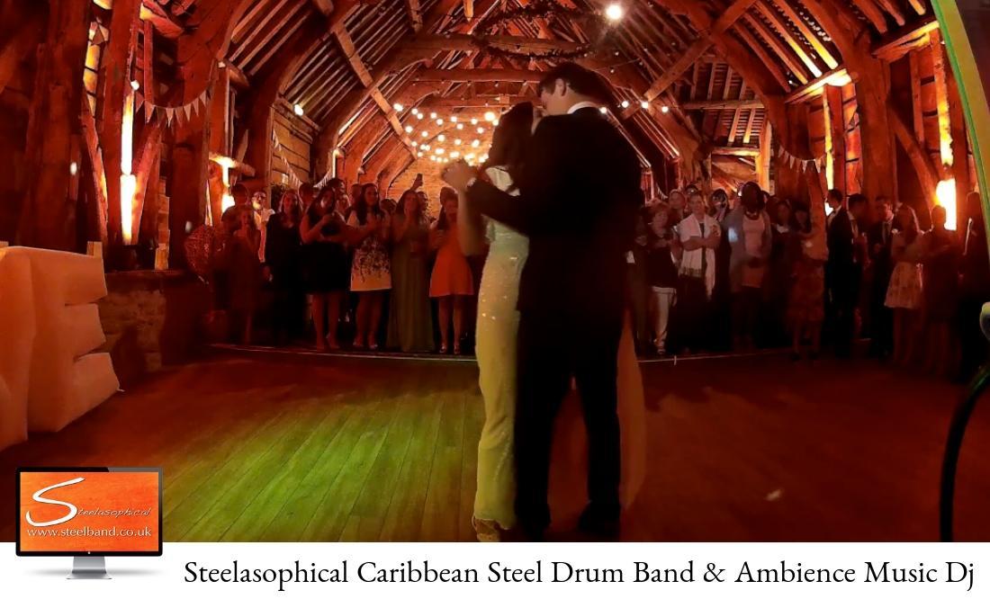 weddings with Steelasophical steel band bride groom first dance
