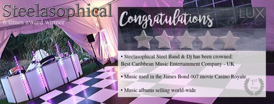 Voted Best Caribbean Music Entertainment Company UK steel band dj Steelasophical Caribbean Steel Drums